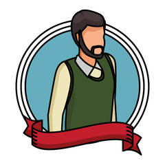 Man with sweater avatar round icon