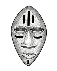 african wooden mask, vintage hand drawing