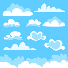 Set of cartoon vector clouds of different shape
