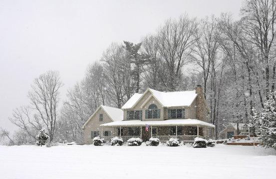 modern home in winter