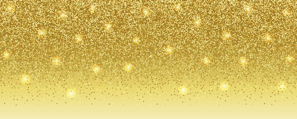 Luxury Gold Glitter Banner with Text Place