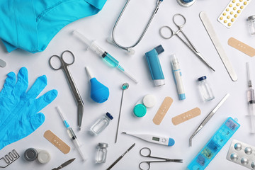 Many different medical objects on light background, flat lay