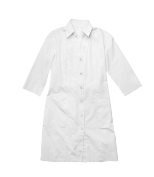 Medical uniform on white background, top view. Professional work clothes