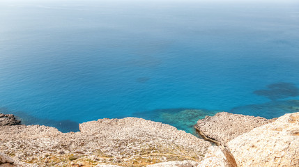 Fototapete - Beautiful sea background, white chalky rocks and bright blue turquoise water
