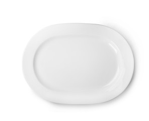 Fototapeta Ceramic plate with space for text on white background, top view. Washing dishes obraz