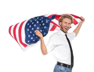 Young man with American flag on white background