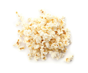 Pile of delicious fresh popcorn on white background, top view