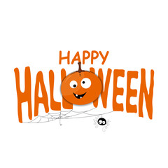 Happy Halloween background with spiderweb and text.