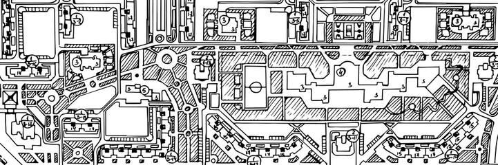 Street city hand drawn map
