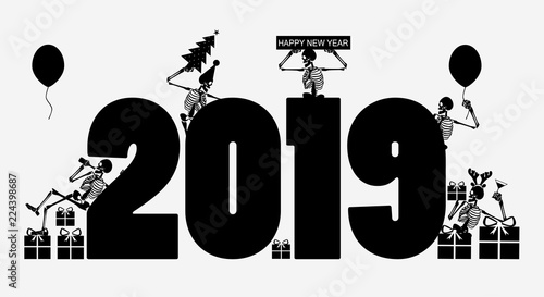 happy new year background 2019 with skulls funny black and white poster