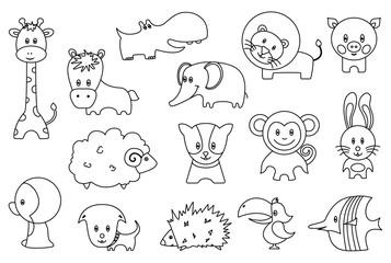 Cute wild and domestic animals cartoon stickers or icons set. Funny lion, bird, pig, giraffe, hedgehog, parrot, penguin, monkey, rabbit, sheep, horse, puppy, behemoth, elephant isolated flat vectors