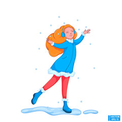 Cartoon girl catches snowflakes.