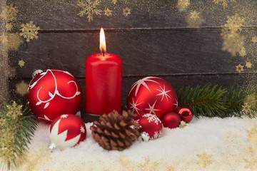 Karte zu Weihnachten mit roter Kerze