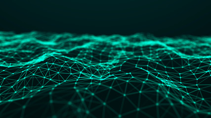 Abstract technology background. Music green background. Big data visualization. 3d rendering.