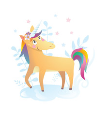 Funny unicorn vector humor color illustration