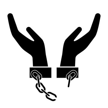 Broken handcuffs, manacles or shackles icon. Unchained hands as freedom symbol. Vector Illustration