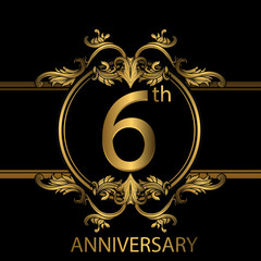 6th anniversary logo with gold color