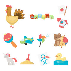 Children s toy cartoon icons in set collection for design. Game and bauble vector symbol stock web illustration.