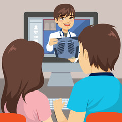 Young couple using computer to talk with doctor online consultation concept with x-ray diagnosis