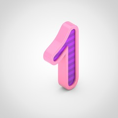 Pink number 1 with violet stripes isolated on white background.