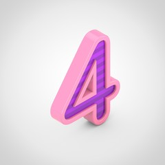 Pink number 4 with violet stripes isolated on white background.