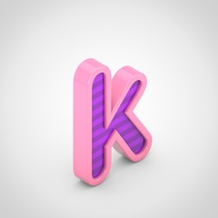 Pink letter K lowercase with violet stripes isolated on white background.
