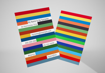 Business Card Layout with Multicolred Stripes