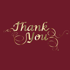 Thank you card in gold design vector