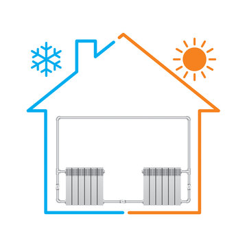 Stylized house with heating system. Vector illustration