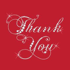 Thank you card in diamonds design vector