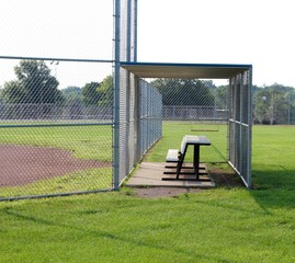 A side view of the dugout at the baseball fields.