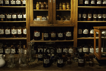 Old pharmacy with medicines