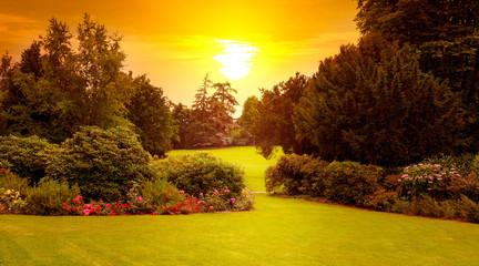 Summer park with beautiful flowerbeds and sun rise. Wide photo.