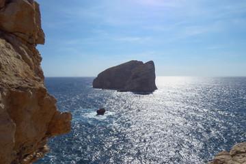 Rock in the Mediterranean sea at Capo Caccia, Sardinia, Italy