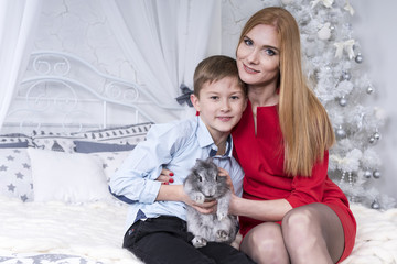 Mom with son and rabbit