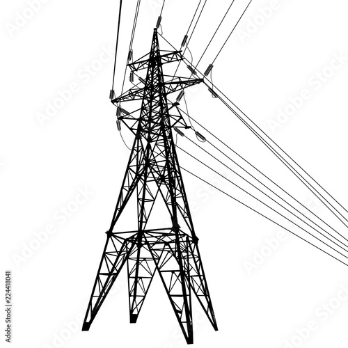 Silhouette Of High Voltage Power Lines On White Background