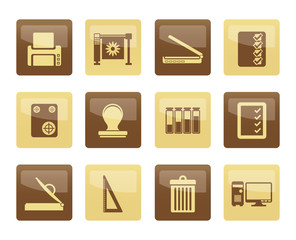 Print industry Icons over brown background - Vector icon set
