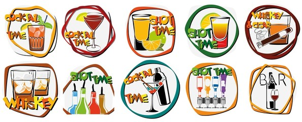 Illustration Sammlung Cocktail Nachtleben Logos