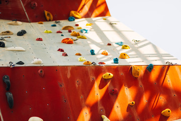lead climbing, A segment of a climbing wall with a difficult pattern