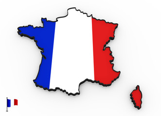 France high detailed 3D map