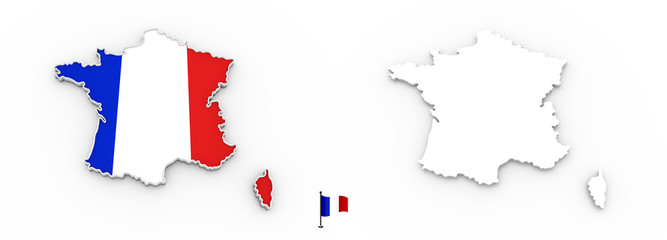 3D map of France white silhouette and flag