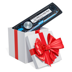Gift box with car digital media receiver, 3D rendering