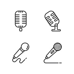 line microphone icons set on white background