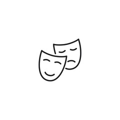 line theatre masks icon on white background