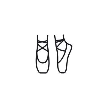 line ballet shoes icon on white background