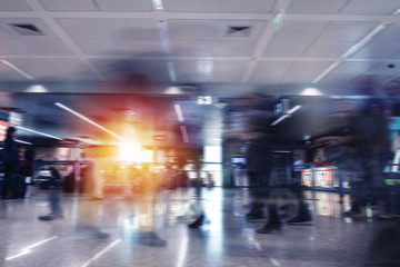 Modern airport with blur effects. double exposure
