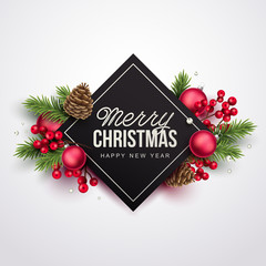 Merry Christmas background. Vector illustration with Christmas elements