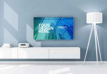 Smart TV on Blue Wall Mockup