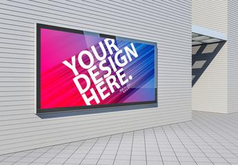 2 Horizontal Advertising Kiosk on Wall Mockups