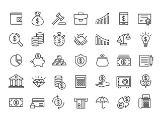 finance and money outline line black icons set - fototapety na wymiar